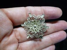 Authentic Vintage Artisan Spun Sterling Silver Ethnic Brooch/Pin