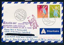 66107) LH / LAUDA FF München - Los Angeles 28.3.93, Karte ab Schweiz