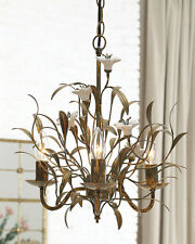 Chandelier Cosette Antique Finish with Ceramic Tole Flowers