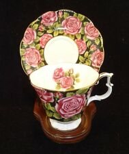 Royal Albert June Red Roses on Black background Tea Cup and Saucer