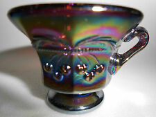 Amethyst purple carnival glass salt dip cellar celt cherry & cable pattern black