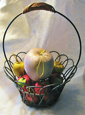 "11"" High Gift Basket With 13 Glitter Gold and Red Apples 1 Free"