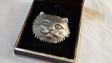 Silver colour vintage Art Deco antique cat brooch