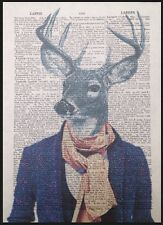 Stag Head Hipster Print Vintage Dictionary Page Wall Art Picture Animal Deer