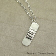 Silver Band-Aid Charm Necklace - Doctor Nurse Injury Medical Pendant Jewelry NEW