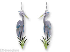 Zarah Zarlite Great Blue Heron EARRINGS Sterling Silver Plated Bird - Gift Boxed