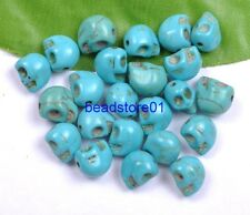 30Pcs   TURQUOISE GEMSTONE BLUE CARVED SKULL HEAD LOOSE BEADS 10X8MM