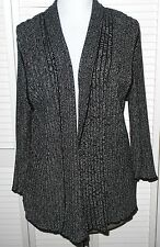 DANA BUCHMAN Cardigan Sweater XL/18/20 Black White WRAP 3/4 Sleeve Womens