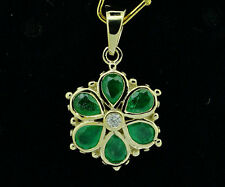 PE036 Solid 9K Yellow Gold NATURAL Emerald Diamond DAISY Pendant Flower Blossom