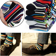 5 Pairs Lot Mens Designer Fashion Dress Socks Casual Striped Style Multi Color