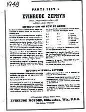 Parts List Manual 1948 Evinrude Zephyr Model 4402, 4403, 4404, 4405