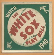 1940 Chicago White Sox Play Ball Schedule