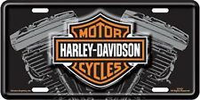 Harley Davidson V-Twin Embossed Metal Vanity Car License Plate Auto Tag