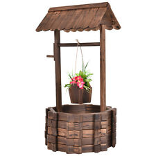 Outdoor Wooden Wishing Well Bucket Flower Plants Planter Patio Garden Home Decor