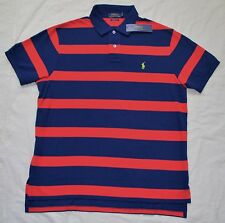 New Medium POLO RALPH LAUREN Men short sleeve custom fit polo shirt red navy top