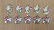 10 X Thumper Rabbit Metal Enamel Charms Pendants