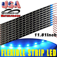 10x 30cm 15 LED Ice Blue Car Motorcycle Flexible Strip Lights Waterproof 12V US