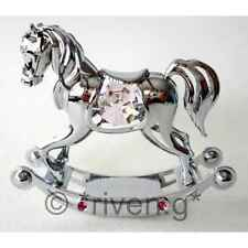 ROCKING HORSE@PINK@CHRISTENING GIFT@SWAROVSKI CRYSTALS@LITTLE GIRL@SILVER PLATED