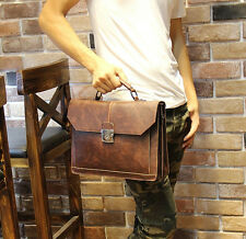 Men Business Leather Hand bag Vintage Briefcase Laptop Messenger Shoulder Bag