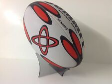 ACRYLIC, PERSPEX RUGBY BALL DISPLAY STAND,AUTOGRAPHED HOLDER,GREY,MADE IN UK