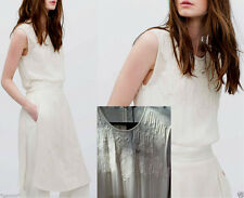 Zara size M 38 40 long EMBROIDERED Lace Dress Blouse slits robe chemisier broderie