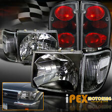 1998-2000 Toyota Tacoma 4WD Black Headlights W/ Black Corner + Black Tail Lights