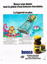 PUBLICITE ADVERTISING  1972   BENCO   granulés chocolatés