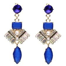 ELEGANT Anthropologie Perle Bianche Blu Goccia Dangle Earrings NUOVI