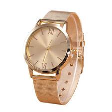 Moda Mujeres Vintage Reloj Oro Acero Inoxidable Malla Banda Reloj De Pulsera