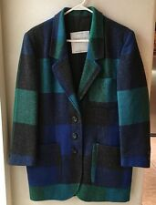 Women's United Colors Of Benetton Wool Plaid Blazer Jacket 42 Made In Italy New