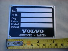 ID CHASSIS PLATE NEW VOLVO PV P1800 AMAZON 120 140