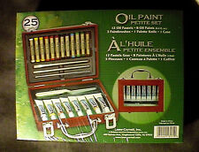 LOWE CORNELL 25 PIECE OIL PAINT SET W/CASE BRUSHES NIB