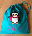PERSONALISED GIRLS PENGUIN PE PUMP GYM SCHOOL NURSERY DRAWSTRING COTTON BAG