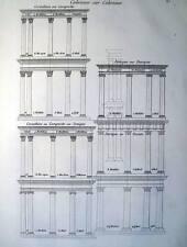 ARCHITETTURA,COLONNE,STILE IONICO,DORICO,CORINZIO,DECORI,INCISIONE,STAMPA ANTICA