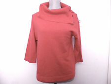 Jones New York 100% Cashmere Sweater Womens Petite M Coral Cowl Neck 3/4 Sleeves