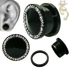 CZ Plugs Clear Black Red Aqua Green Amethyst Pink Anodized Body Jewelry Tunnel