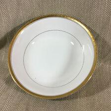 Large Salad Bowl China Porcelain Serving White Gold Trim Border Harrods Apsley