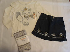 Gymboree Snowflake Glamour 18-24 Month Denim Skirt Fox Shirt 2T Leggings Outfit