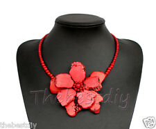 Large Turquoise coral beaded flower necklace with earrings set