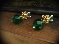 Vintage Earrings Emerald & Peridot Green Crystal Drop. Pierced. 22ct Gold plated