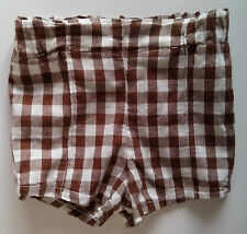 Cotton Shorts Brown and White gingham check   waist 19 / 20 inches 1970s