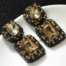 ANTHROPOLOGIE BROWN CHAMPAGNE EMBOSSED STONES SQUARE GLASS DROP EARRINGS NEW