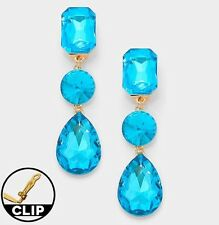 "3"" BiG Long Aqua Aquamarine Blue CLIP ON Rhinestone Crystal Silver Earrings"