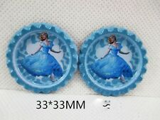 5 x 33mm imprimé cendrillon le film bottle caps bandeau bows vente look