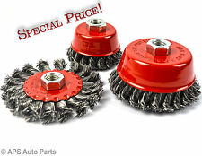 """3x Wire Brush Wheel Set NEW M14 Suitable For 4"""" Angle Grinder Rust Weld Remover"""