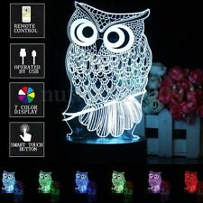 Owl 3D Illusion Touch Switch+Remote Control 7 Color LED Desk Night Lamp Light
