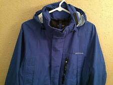 Nautica Competition Jacket Size Small Hooded Blue Sailing Double Zipper Pockets