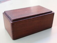 VINTAGE SMALL WITH SEPERATE LID HAND MADE MAHOGANY WOOD WOODEN DESK TIDY BOX