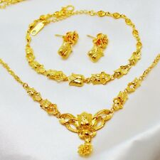 Women's  24K Yellow Gold Filled Rose Necklace+Bracelet+Earrings Wedding Set