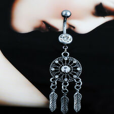 Popular Women Rhinestone Dream Catcher Body Piercing Belly Button Navel Ring Bar